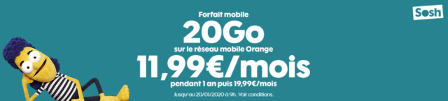 Sosh De is Offering Its 20 Gb Package at 11.99 Euros Per Month Instead of 19.99 Euros Per Month