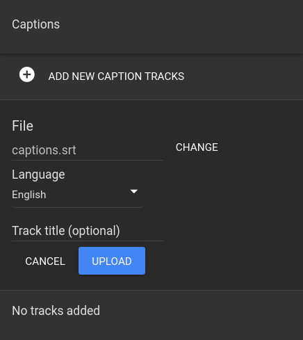 How to add a caption track to a video in Google Drive